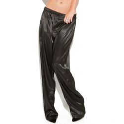 Black Charmeuse Satin Unisex Pants - Sizes Small through 2X
