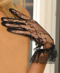 Lace Wrist Length Gloves with Ruffle Trim. - Black or White - O/S