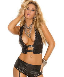 Open Front Vest w Front Buckle Closure & Stud Detail - S - XL