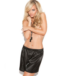 Charmeuse Black Satin Unisex Boxer Shorts - Available in Small through 2X
