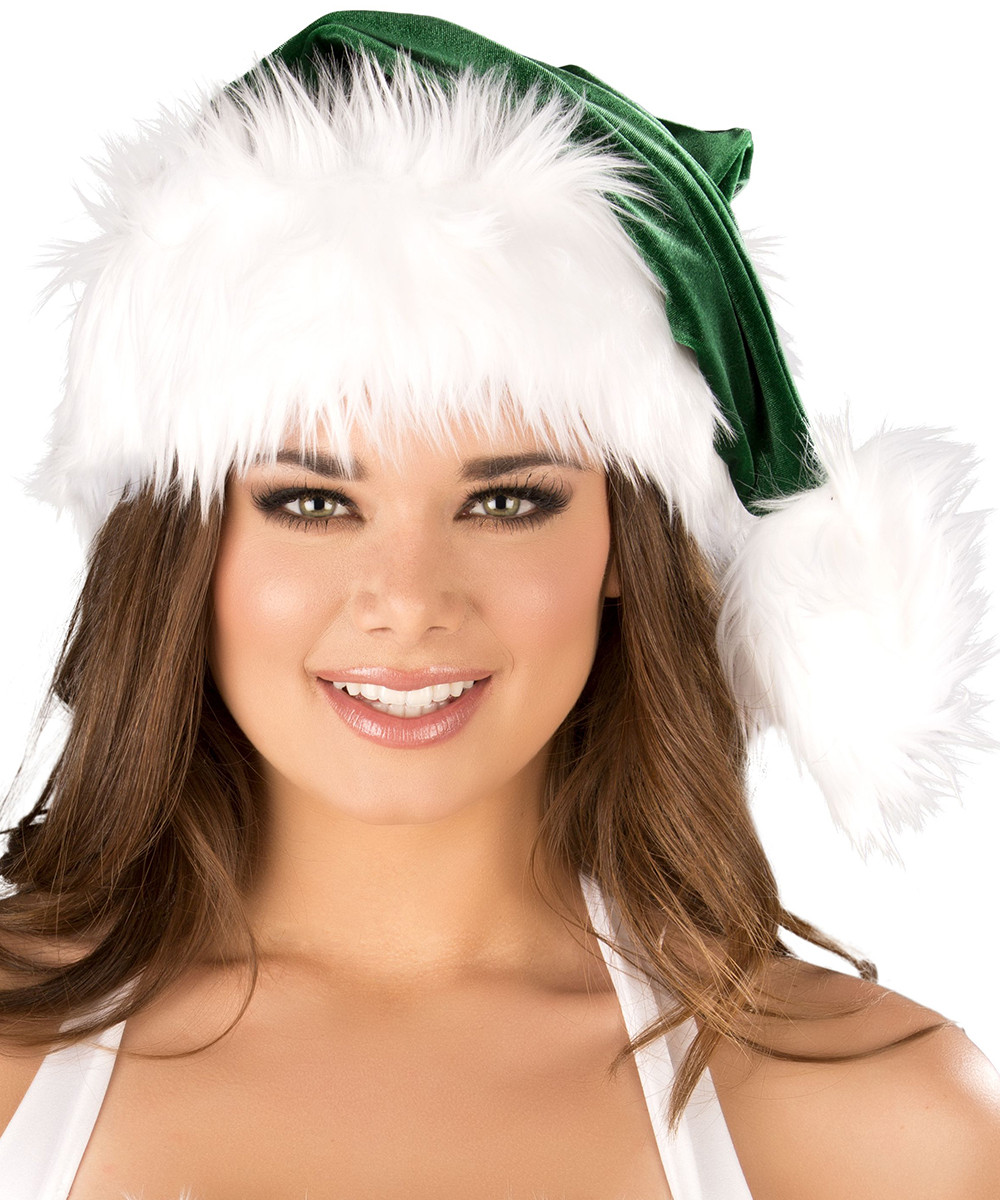 Santa Hat - Green w White Trim - © 2016 Roma Costumes, Inc.