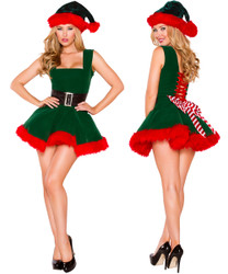 Santa's 1 Pc Head Elf Dress w Attached Belt & Striped Bow Detail- Sz Small - Large - Genuine Roma Product