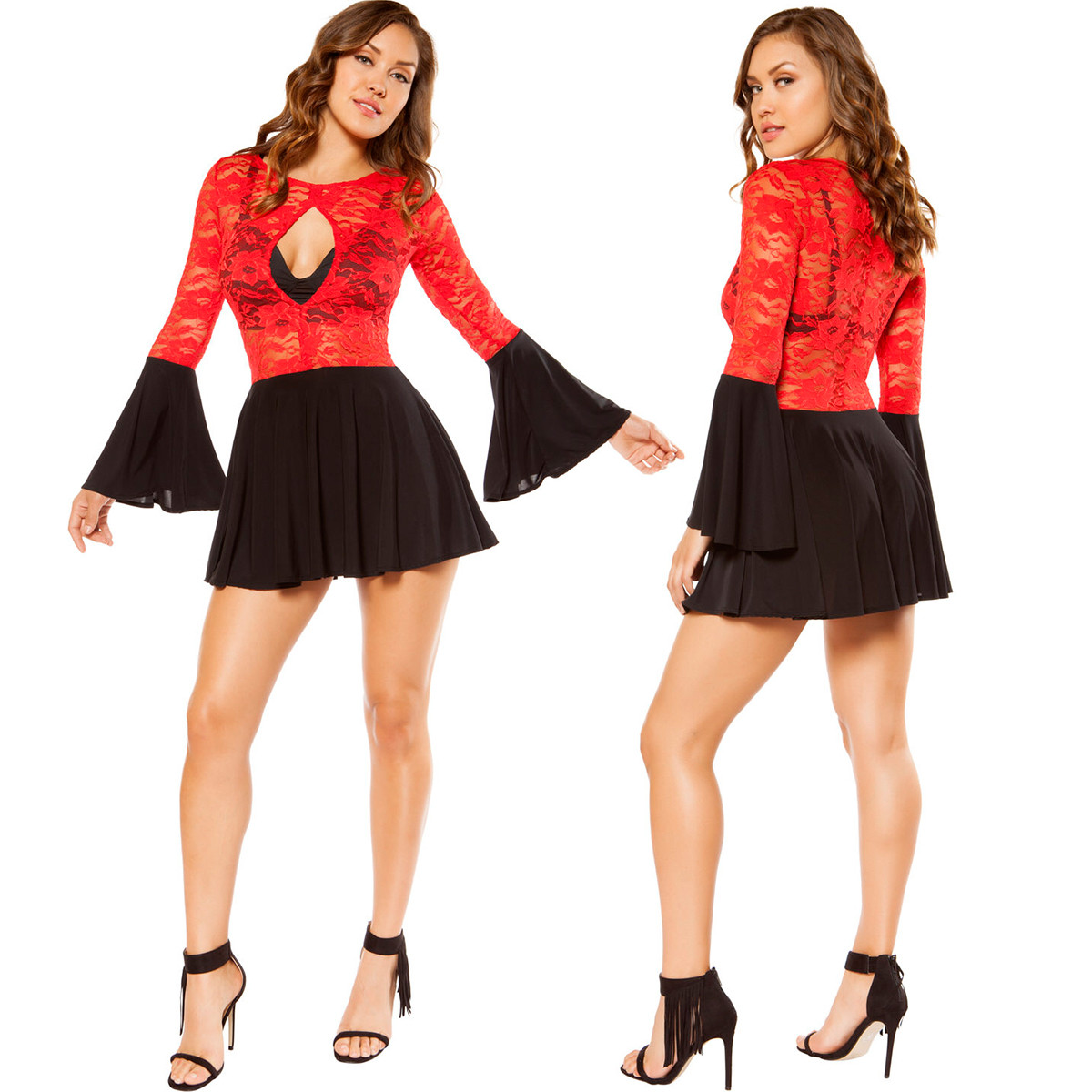 Mini Dress - RED/BLACK - Front and Back - © 2016 Roma Costumes, Inc.