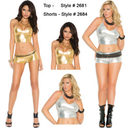 Lame Cami Top w Halter Neck in Silver or Gold - Small through 3X