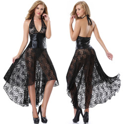 Wet Look & Lace Dress w Matching G-String - Size OS