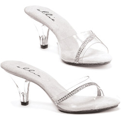 "3"" Clear Mule w Rhinestones - Sizes from 5 to 16"