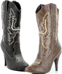"Cowgirl Calf High Boot w 4"" Heel"