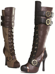 "4"" Steampunk Knee High Boot w Laces & Buckles - Brown or Army Green Sz 6 - 12"