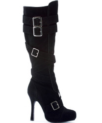 "Microfiber Knee High Boot w 4"" Spike Heel and Buckles - Sz 6 - 12"