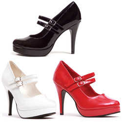 "4"" Pump w Double Strap - Black, Red or White - Sizes 5-12"