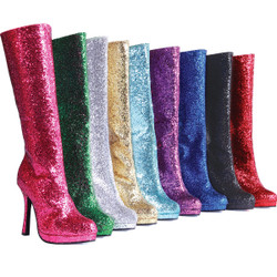 "4"" Heel Knee High Glitter Boot w Zipper - LOTS of Colors - Sz 5-12"