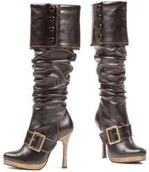 "4"" Heel Knee High Boot w Strap and Buckle Detail"