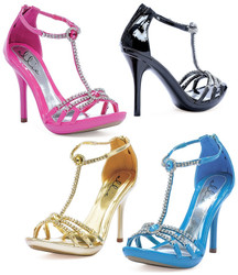 "4"" Heel Sandal w Rhinestone Detail - 4 Colors in sizes 5-12"