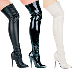 Thigh High Stiletto Boots - Sz 5 to 14 - Black or White