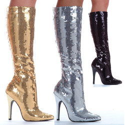 Shiny Sequins Knee Hi Stretch Zipper Boots