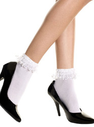Sheer Ankle Stockings w Lace Ruffle Trim Top - in Black or Red