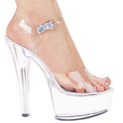 "6"" Clear Sandal w Ankle Strap - up to size 14"