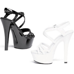 "6"" Heel Sandal w 2"" Platform - Black or White - Sizes 5 - 12"