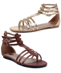 Gladiator Flat Sandal - 0 inch heel in Brown or Gold - Sz 5 - 11