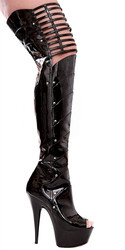 "6"" Thigh High Peep Toe w Knee Cut Outs - Sz 5 - 12"