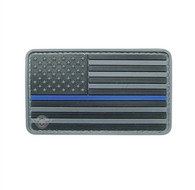 "US Flag Gray w/Blue Stripe 3 1/4"" x 2"" Velcro Backed PVC Patch"