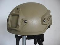 Mich 2001 Helmet w/Side Rail & NVG Mount in Tan