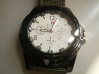 Military Style White Dial Black Fabric Strap Sports Watch