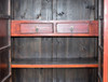 antique black red cabinet, gilded, hand painted