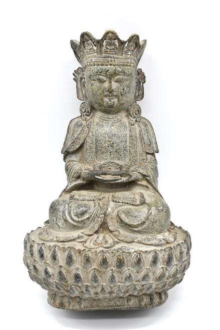 bronze earth buddha on lotus seat