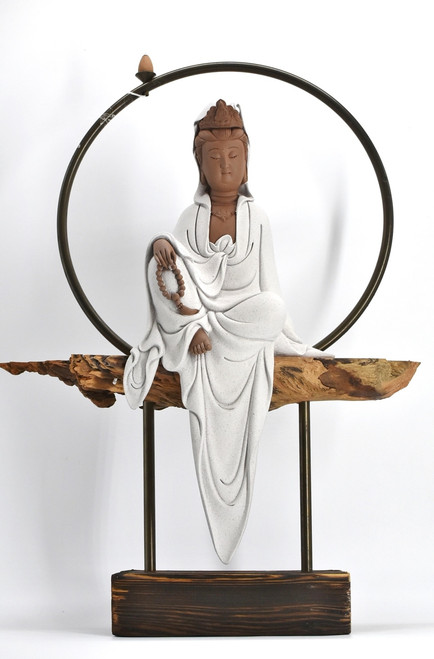 earthenware kwan yin reserve incense burner