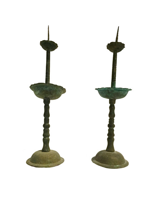 candle holders, pair, antique