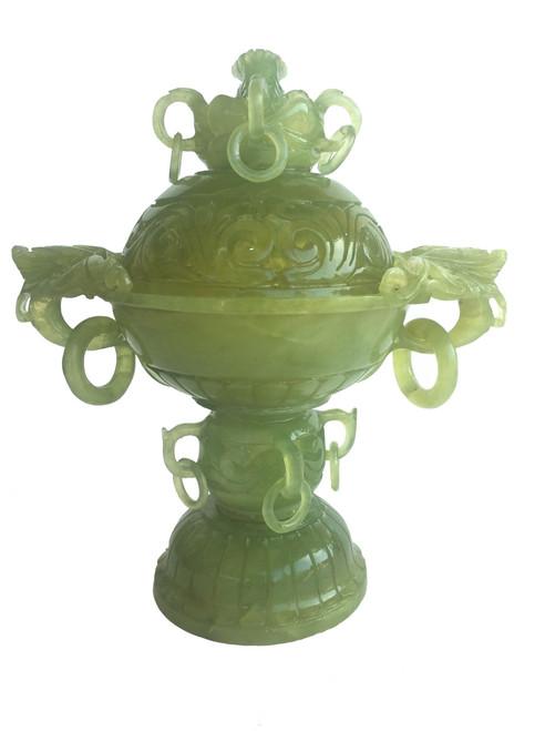 incense burner, serpentine with carved dragon