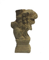 18TH CENTURY BRICK FOO DOG CANDLE HOLDER
