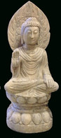 ANTIQUE MARBLE FEARLESS BUDDHA
