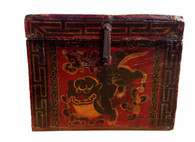 ANTIQUE TIBETAN TREASURE BOX FOO DOG