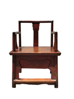 ANTIQUE RED SINGLE BOARD ARM CHAIR