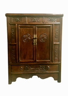 ANTIQUE CHEST W CARVED PEONY