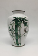 ANDO JUBEI CLOISONNE VASE WITH BAMBOO AND BIRD