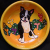 Oreo Cookie Boston Terrier Hand-Painted Bowl