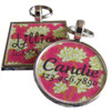 Bright Pink Floral Pet ID Tag