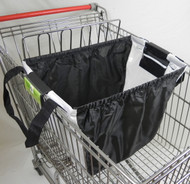 Shopping cart bag in black/white. Just clip it on to your grocery cart and you are ready to go.  It is environment friendly, safes plastic bags if you use it every time you go shopping, 2 bags fit in one shopping cart.