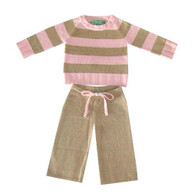 cashmere layette pink + camel striped set