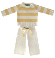 cashmere  layette cream + yellow  striped set