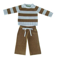cashmere layette blue + brown striped set