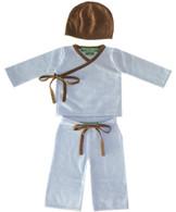 cashmere layette blue + brown kimono set