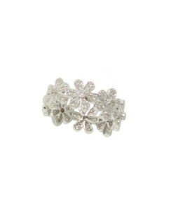 Diamonds on White Gold Floral Circlet Garland Ring. 18K.