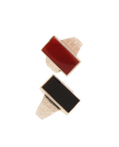 Long Bold GOOD LUCK Calligraphy Black Onyx or Carnelian Sterling Bar Ring.