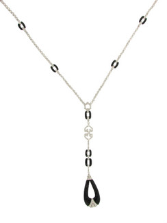 Cleavage Teasing Impossibly Elegant Art Deco Diamond and Black Jade Drop Necklace. 18K.