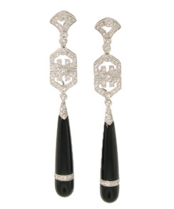 French Style Chinese Genre Art Deco Diamond and Black Jade Long Drop Earrings. From Esther Gallant. 18K