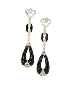 Impossibly Elegant Art Deco Diamond and Black Jade Earrings.18K
